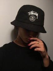 hat,black,trill,dope,stussy,nails,bucket hat,stussy bucket hat,bucket hats,stüssy