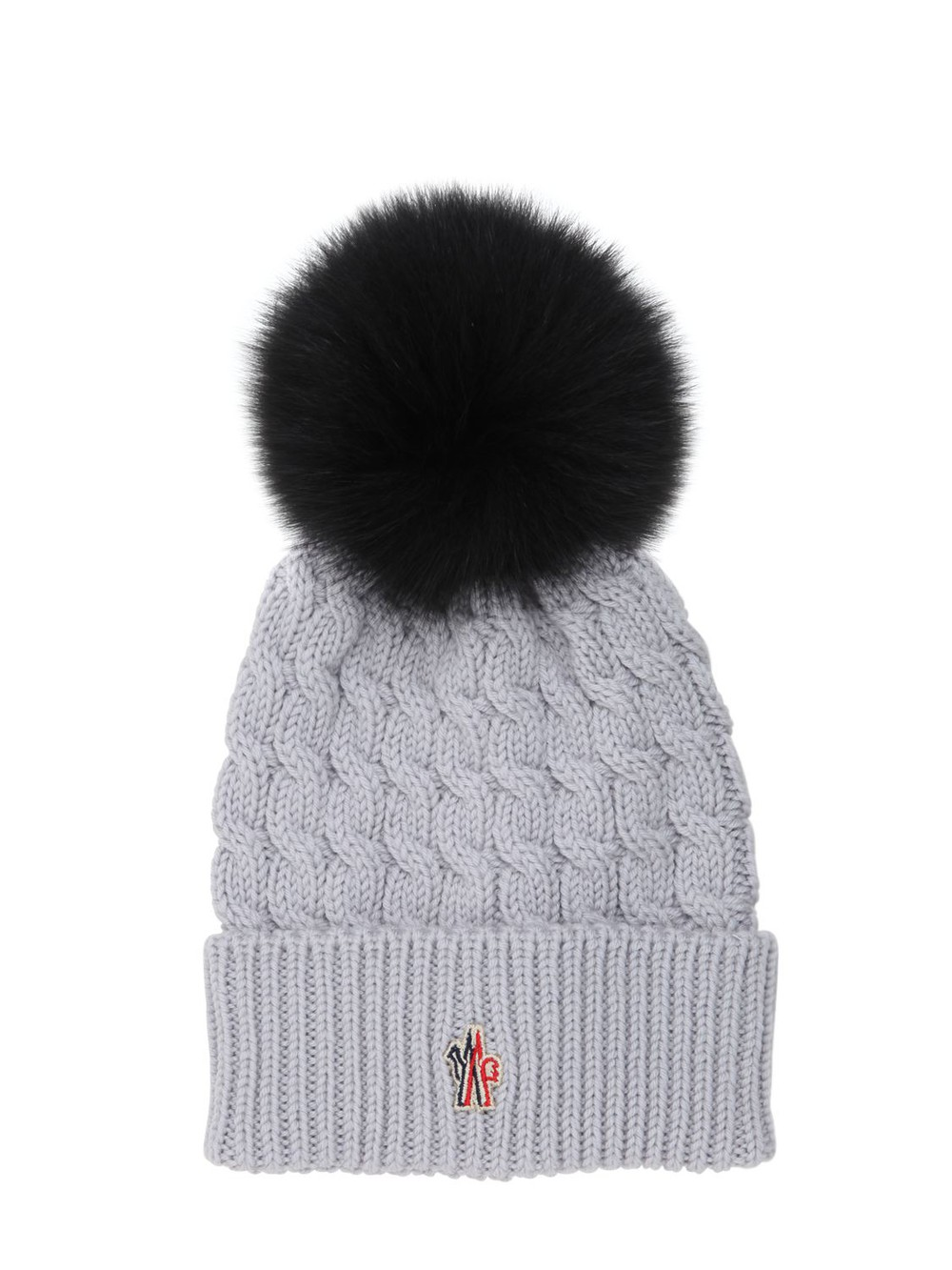 8deb1d0a251 MONCLER GRENOBLE Wool Cable Knit Hat W  Fox Fur Pom Pom in grey