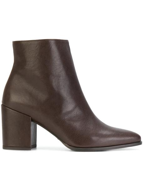 STUART WEITZMAN heel women ankle boots leather brown shoes