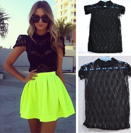 Fashion Women T shirt New 2014 Crop Top Summer Lace Plus Size Punk Women Clothing Sexy Perspective t shirts Free Shipping-in T-Shirts from Apparel & Accessories on Aliexpress.com