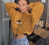 blouse,yellow,addidas shirt,sweater,adidas mustard cropped hoodie,jacket,adidas,sweatshirt,mustard,drawstring