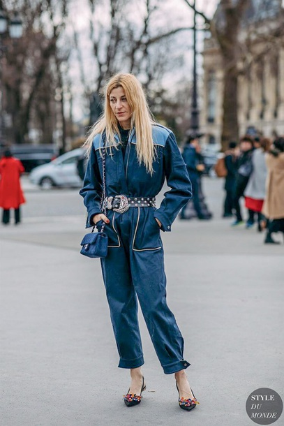 jumpsuit blue jumpsuit overalls shoes slingbacks bag blue bag