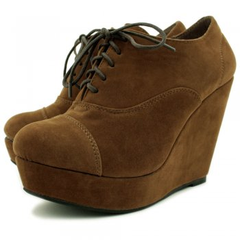 Womens Brown Suede Style Wedge Platform Ankle Lace Boots