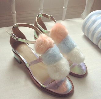 shoes girly pink shoes baby pink baby blue pastel shoes fluffy holographic shoes