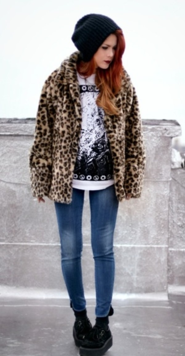 coat leopard print coat hat