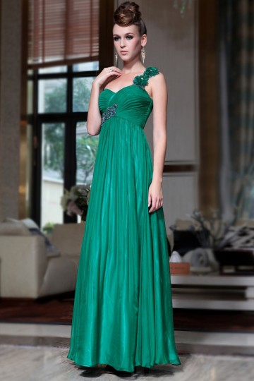 Simple A-line Handmade Flowers Pleats Chffion Floor Length Evening Dress [PECE2112]- US$197.98 - PersunMall.com