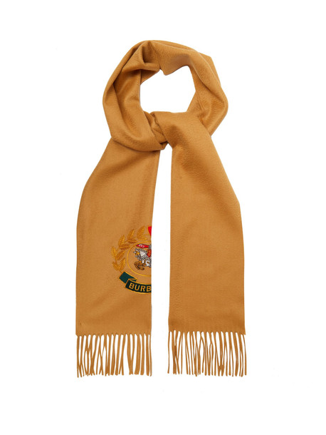 BURBERRY Archive logo-embroidered cashmere scarf in beige / beige