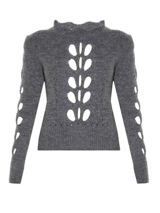 sweater knit open grey