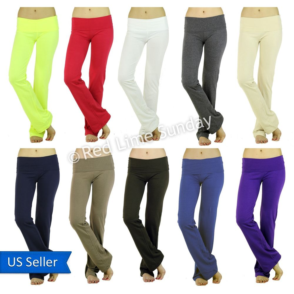Simple Plain Solid Color Fold Over Yoga Casual Lounge Sweat Pants Leggings Gym