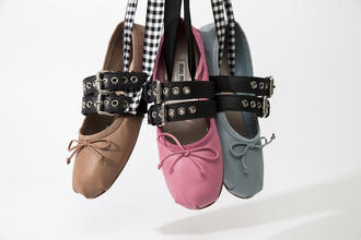 shoes miu miu miu miu buckled leather ballerina flats miu miu ballerinas