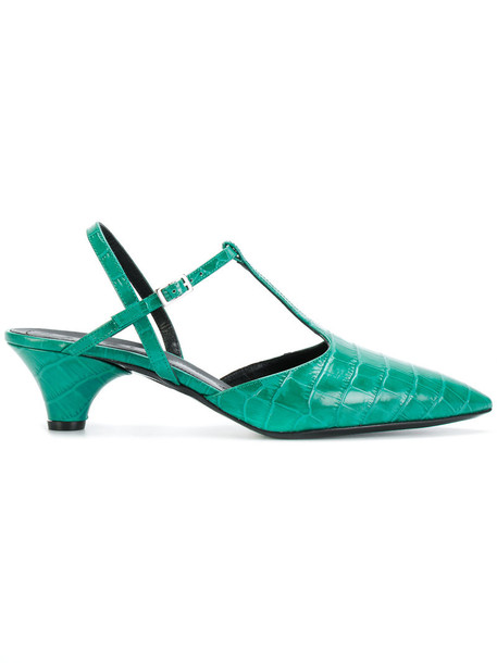 pointed toe pumps women pumps leather green shoes