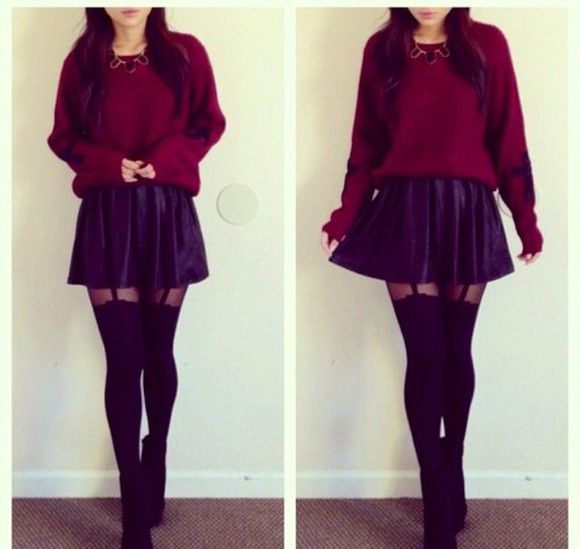 sweater red knit jumper crop winter spring skirt pants tights