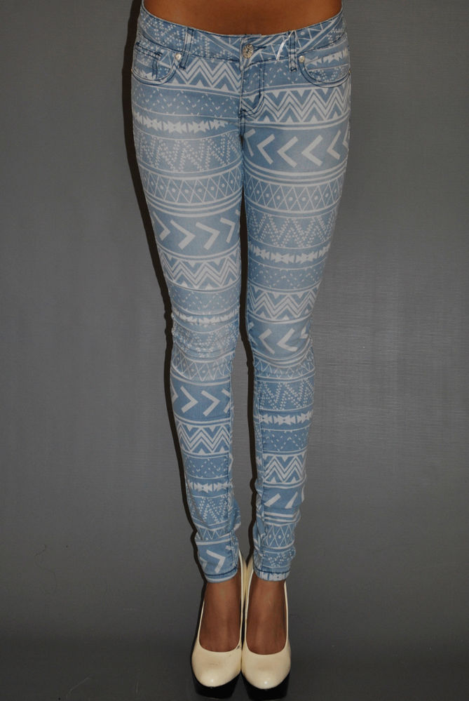 NEW WOMENS AZTEC JEANS BLUE DENIM JEANS AZTEC PRINT SKINNY FIT JEANS UK 6 - 14 | eBay