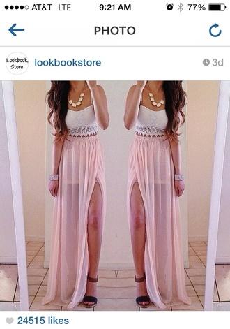 skirt sheer maxi skirt pink slit skirt slit maxi skirt