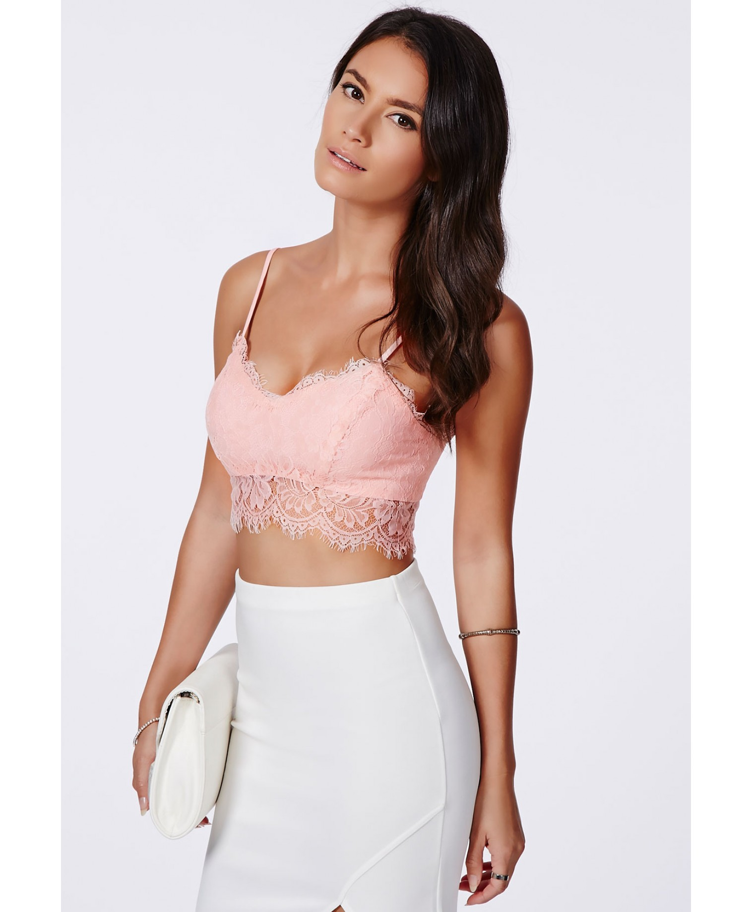 Missguided - Neilina Baby Pink Lace Bralet