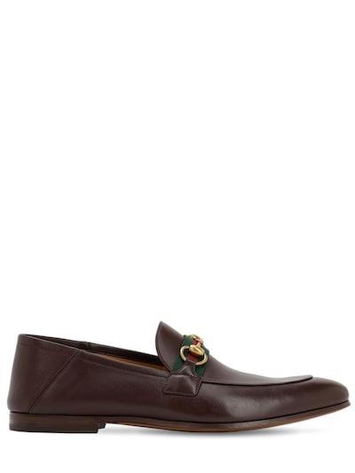 GUCCI 10mm Leather Foldabled Loafers W/ Web Brown