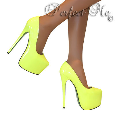NEON YELLOW CONCEALED PLATFORM COURT SHOE EXTREME STILETTO HIGH HEELS PUMPS