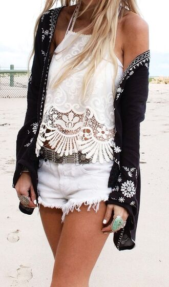 top black lace boho summer tank top indie tumblr white cream tan swimwear festival concert bohemian summer outfits summer shorts coachella shorts