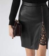 skirt,black,black skirt,black leather,leather,lace,black lace,zip,trendy,sexy,open skirt,open