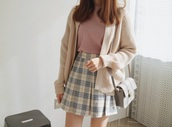 skirt,plaid,pleated,tumblr,pastel,tennis skirt,pleated skirt,aesthetic,tumblr art hoe,purse,jacket,alternative,pale,pale grunge,grunge,soft grunge,high waisted skirt,shirt,cardigan,oversized cardigan,pink,cute,outfit,pink shirt,blue and ivory