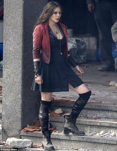 elizabeth olsen marvel boots leather jacket