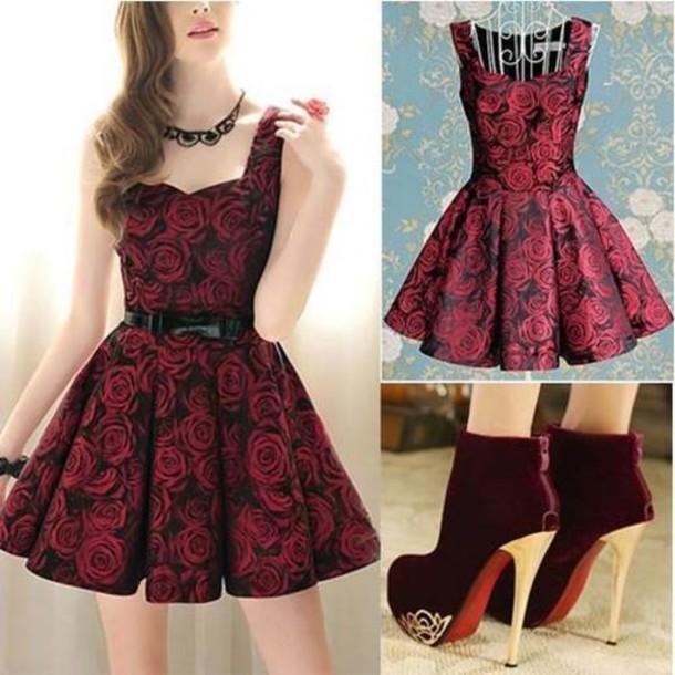 dress shoes belt jewels short dress flowers roses black and red dress rose red  dress 63d2a979748d