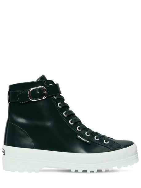 ALEXA CHUNG Superga 40mm Leather High Top Sneakers in green
