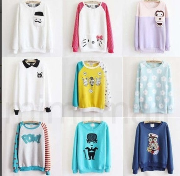 blue retro blouse style white top fashion long sleeves black casual yellow sweater cartoon cute collage vintage green orange purple girly pink warm