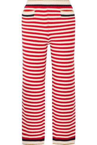 pants cropped metallic cotton red
