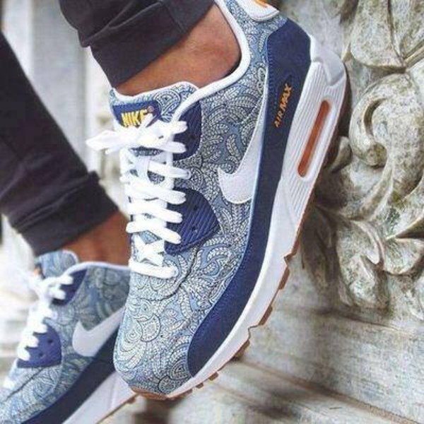 Mens Womens Nike Wmns Air Max 90 Liberty QS Blue Recall Mango Casual Sneakers Running Shoes 654846 400 654846 400