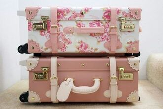 cute bag suitcase box coffer valise girly pink retro white floral travel traveling bag floral derbies luggage love it