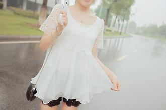 shirt white white shirt lace flower lace layered cute girl fashion white lace white lace shirt layered shirt kfashion korean fashion koreanfashion