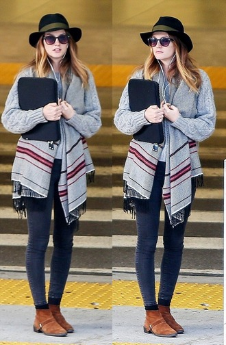 scarf cardigan leighton meester fall outfits fedora