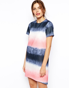 ASOS | ASOS Shift Dress in Scuba with Marble Print at ASOS