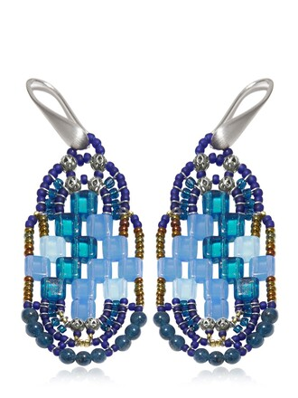 beaded earrings blue jewels