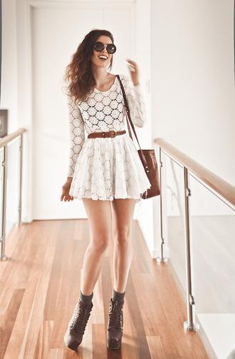 dress waist belt summer dress bag clothes white dress lace dress hipster cream dress flower lace white