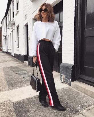 top white top sunglasses pants black pants crop tops wide-leg pants