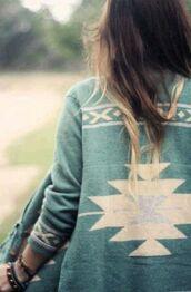 sweater,aztec,aztec sweater,teal,pretty,comfy,warm,jacket,cardigan,green