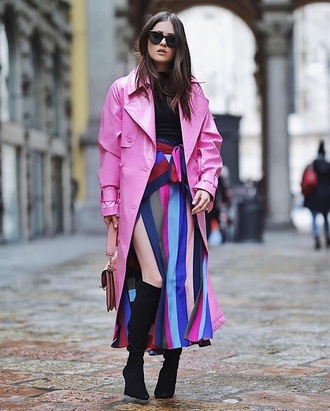 coat pink coat rain coat striped skirt stripes black top boots trench coat skirt maxi skirt multicolor top