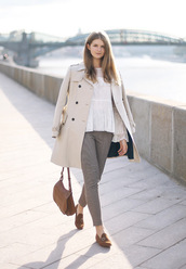 white rabbit dreams,blogger,coat,blouse,pants,bag,shoes,fall outfits,loafers,brown bag,trench coat,white shirt