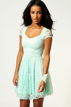 Caroline Cap Sleeve Lace Skater Dress at boohoo.com