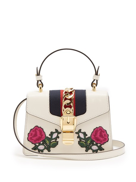 gucci mini embroidered bag shoulder bag leather white