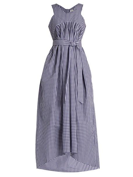 TEIJA dress sleeveless gingham white blue