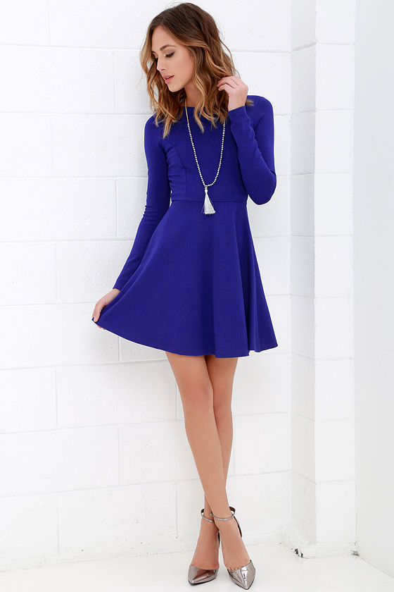 Chic Royal Blue Long Sleeve Dress
