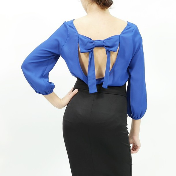 Blouse Open Back Dressy Top Stylish Bowback Trendy