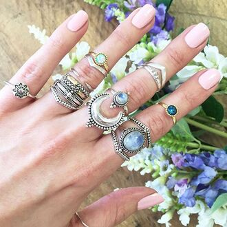jewels shop dixi gypsy boho bohemian hippie grunge jewelry jewelery moonstone ring crescent moon
