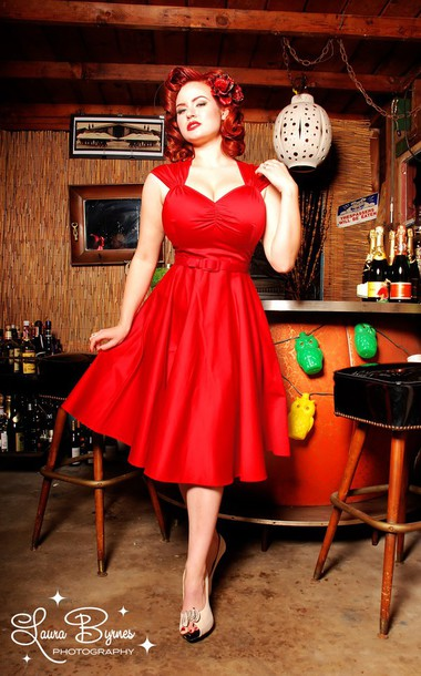 Dress red dress red clothing 50s style 50s dresses for Rockabilly outfit damen