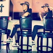 pants,leggings,slit,down,side,black,sneakers,shoes,snapback,swag,india westbrooks,bag,hat,printed snapback