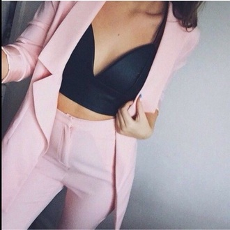 coat jacket bra top black bralette pink suit pastel womens suit pant suit pink trousers pale pink jacket blazer jumpsuit job pas suit pink pants classy pink pants dress pink suit women prom two-piece