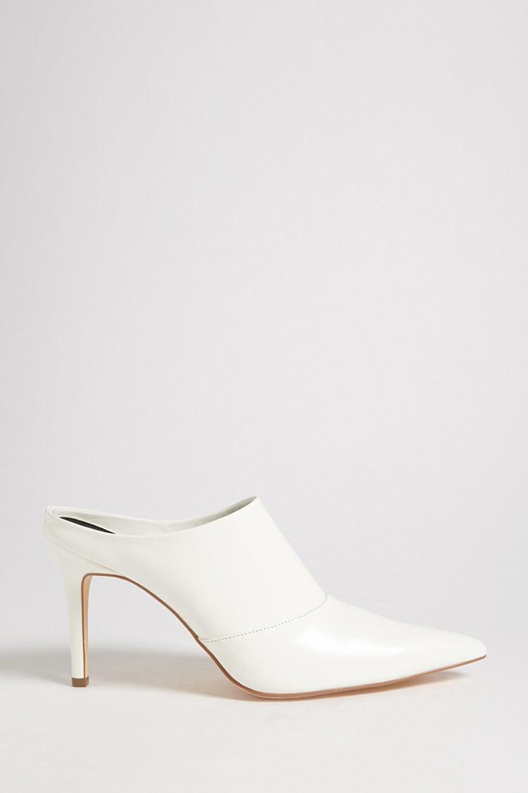 36c57d4520b00 Forever 21 - White Faux Patent Leather Stiletto Mules - Lyst